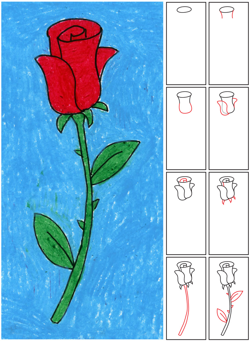 How to Draw a Rose - Art Projects for Kids