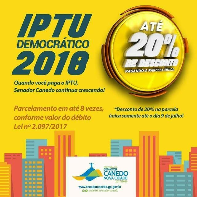 Senador Canedo: Boletos para o pagamento do IPTU/ITU de 2018 já estão disponíveis