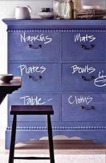 Cômoda azul anil usada como armário na cozinha