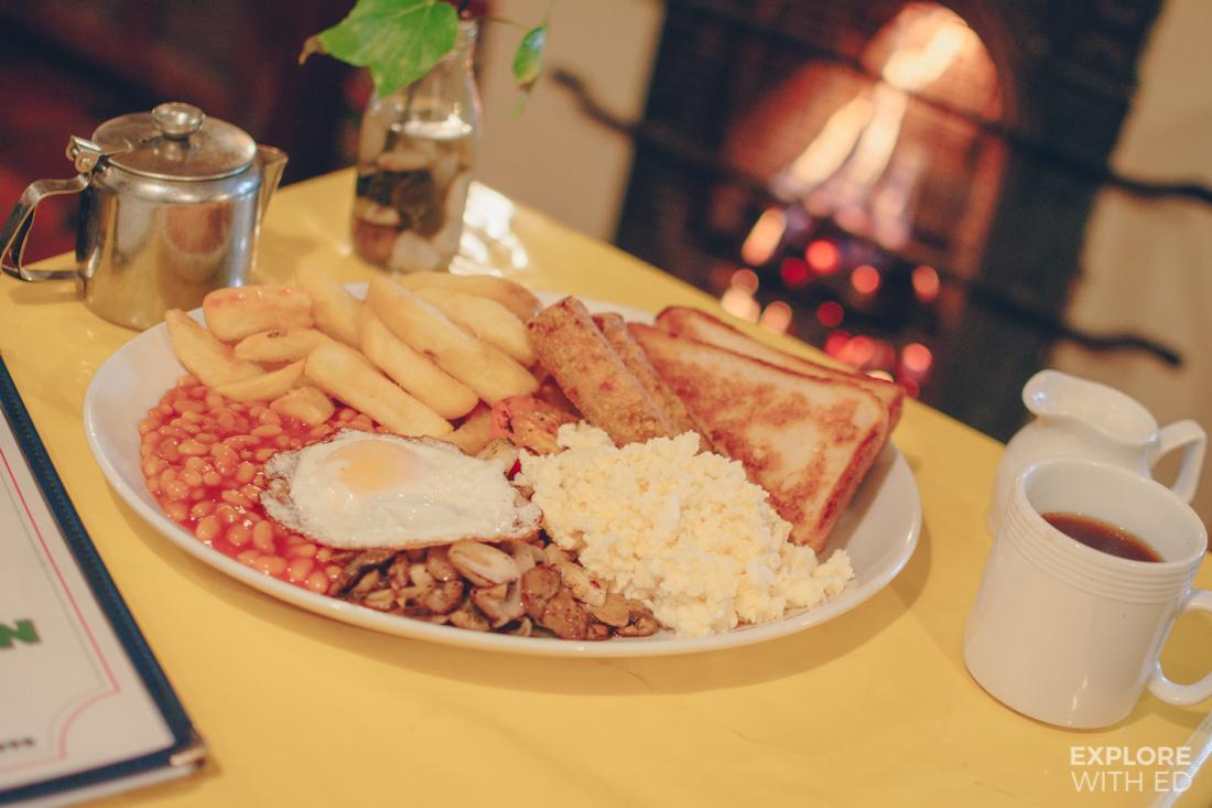 The famous Boatman's Breakfast from The Lock Inn's menu, Bradford-on-Avon