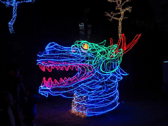 Dragon head display at the Light Festival at Boseong Green Tea Plantation, South Korea