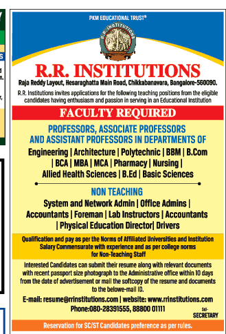 r r institute of technology wanted professor associate