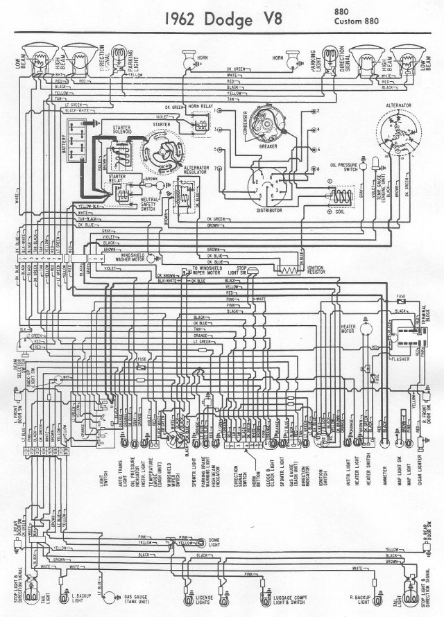 Amc Hornet Tail Light Wiring Diagram 1962 Dodge 880 And Custom 880 Wiring Diagram All About