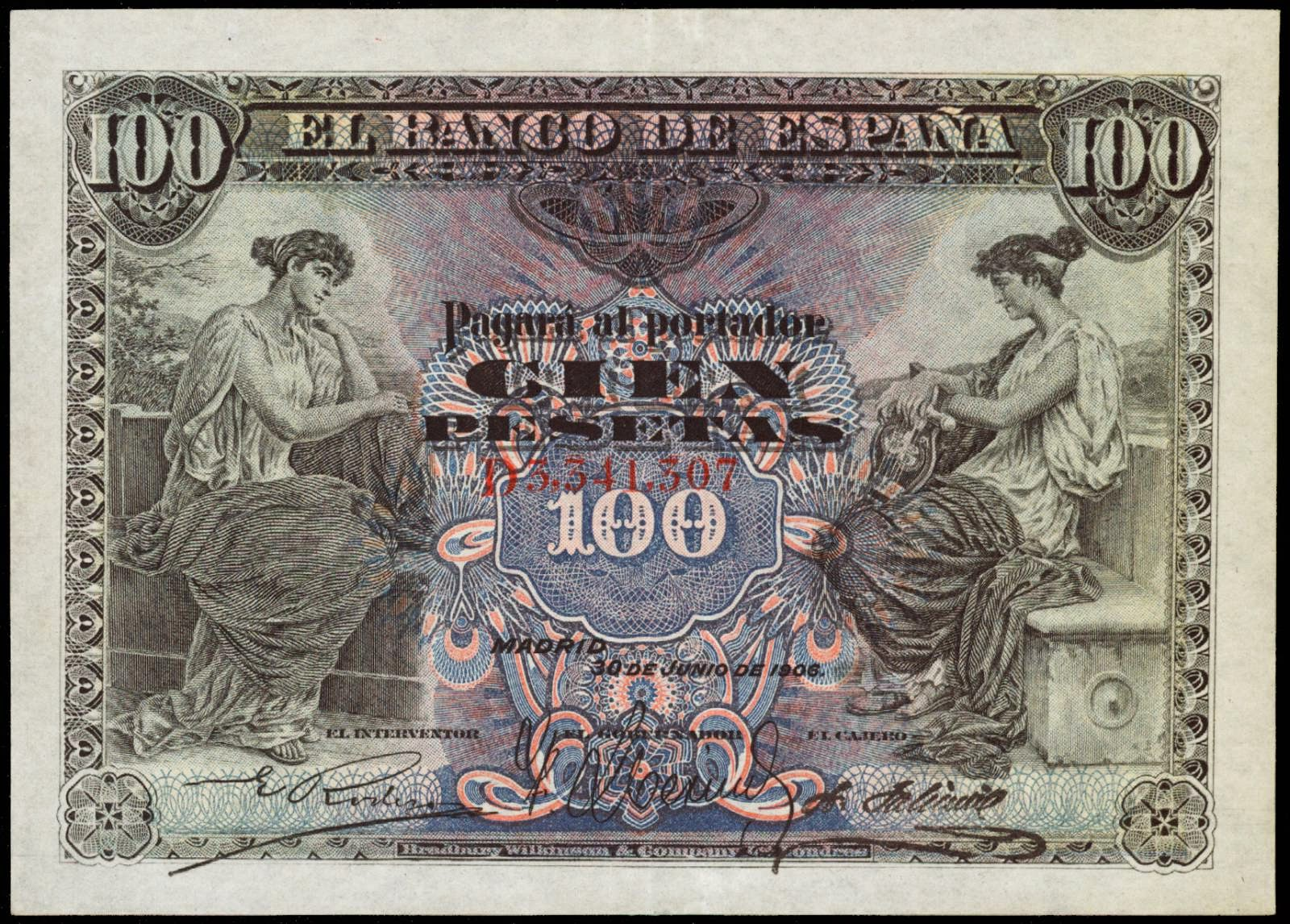 Spain banknotes 100 Pesetas note 1908