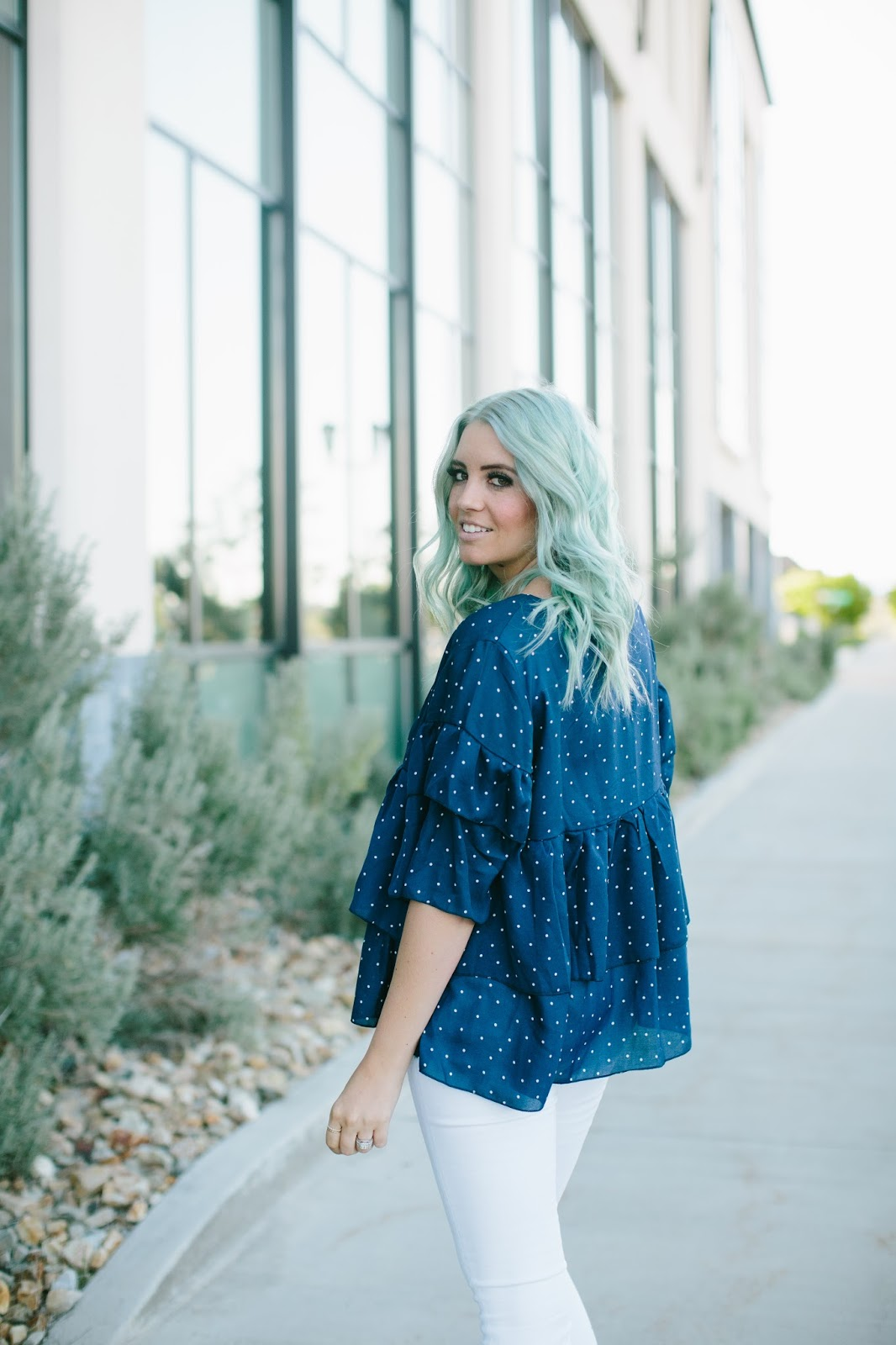 Ruffle Top, Modest Fashion Blogger, Mint Hair