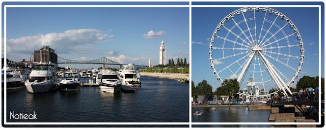 Vue sur l'horloge  et le pont Jacques Cartier et la Grande roue