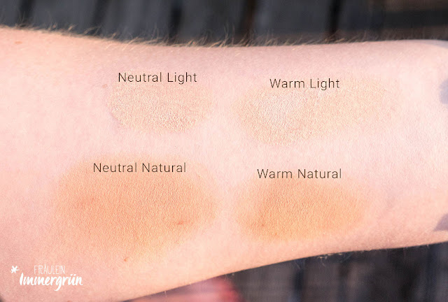 Swatches Cremekampagne Mineral Foundation Light und Natural, Neutral und Warm