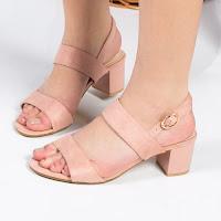 Sandale Samsel roz cu toc gros