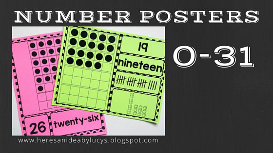 Number Posters 0-31 Polka Dots: print on colored paper to match the colors of your classroom theme! Use the posters 0-31 during your calendar routine :)