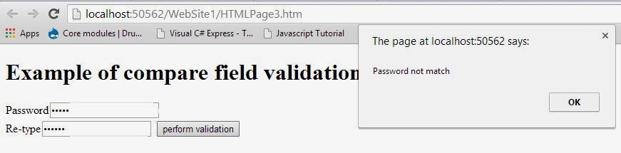 Compare validation in Java Script