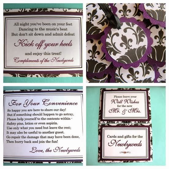 90df379fe5ab90 Weddings by Susan has wedding ceremony and reception signs and favor tags  in the popular black and white damask pattern paired with purple.