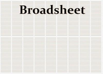 Kolomisasi Media Cetak Broadsheet = 8 – 9 Kolom, reka bentuk surat kabar, jurnal rozak