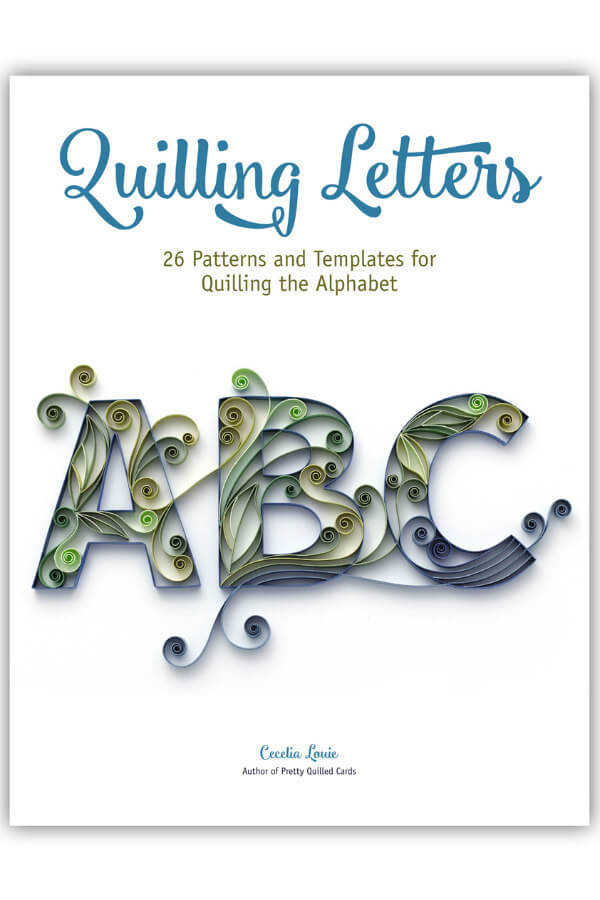 Cover of Quilling Letters E-book with A, B, and C quilled letters filled with paper scrolls
