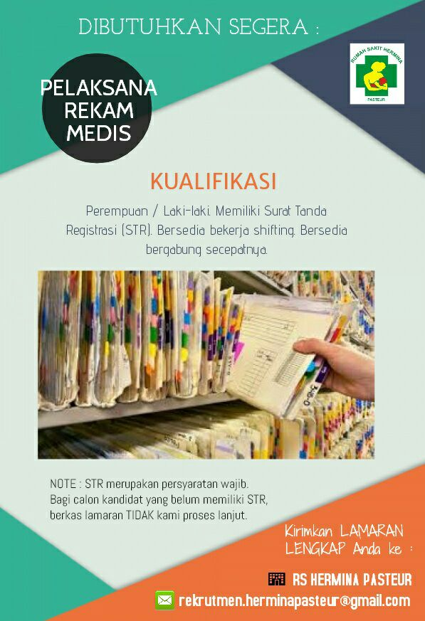 Lowongan Kerja Pelaksana Rekam Media RS Hermina Pasteur Bandung Juni 2017