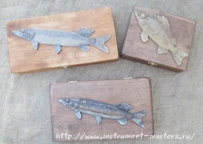 деревянные шкатулки в подарок рыбаку
