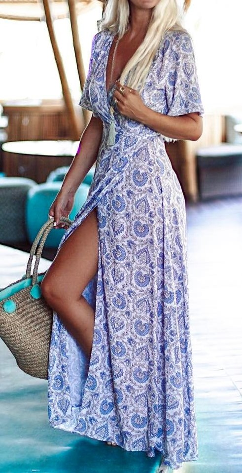 bohemian style perfection: maxi dress + bag