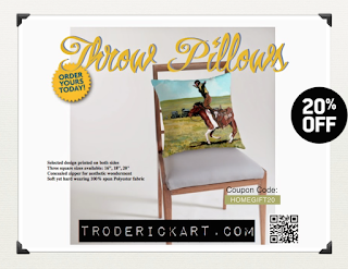 20% off Throw pillows at troderickart.com
