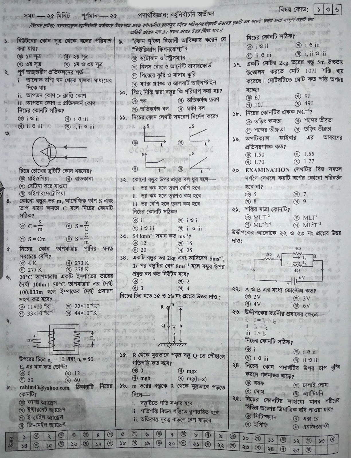ssc physics suggestion, exam question paper, model question, mcq question, question pattern, preparation for dhaka board, all boards