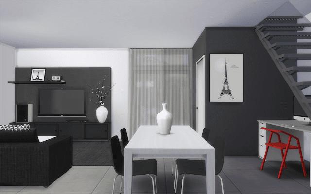Salon noir et blanc sims 4