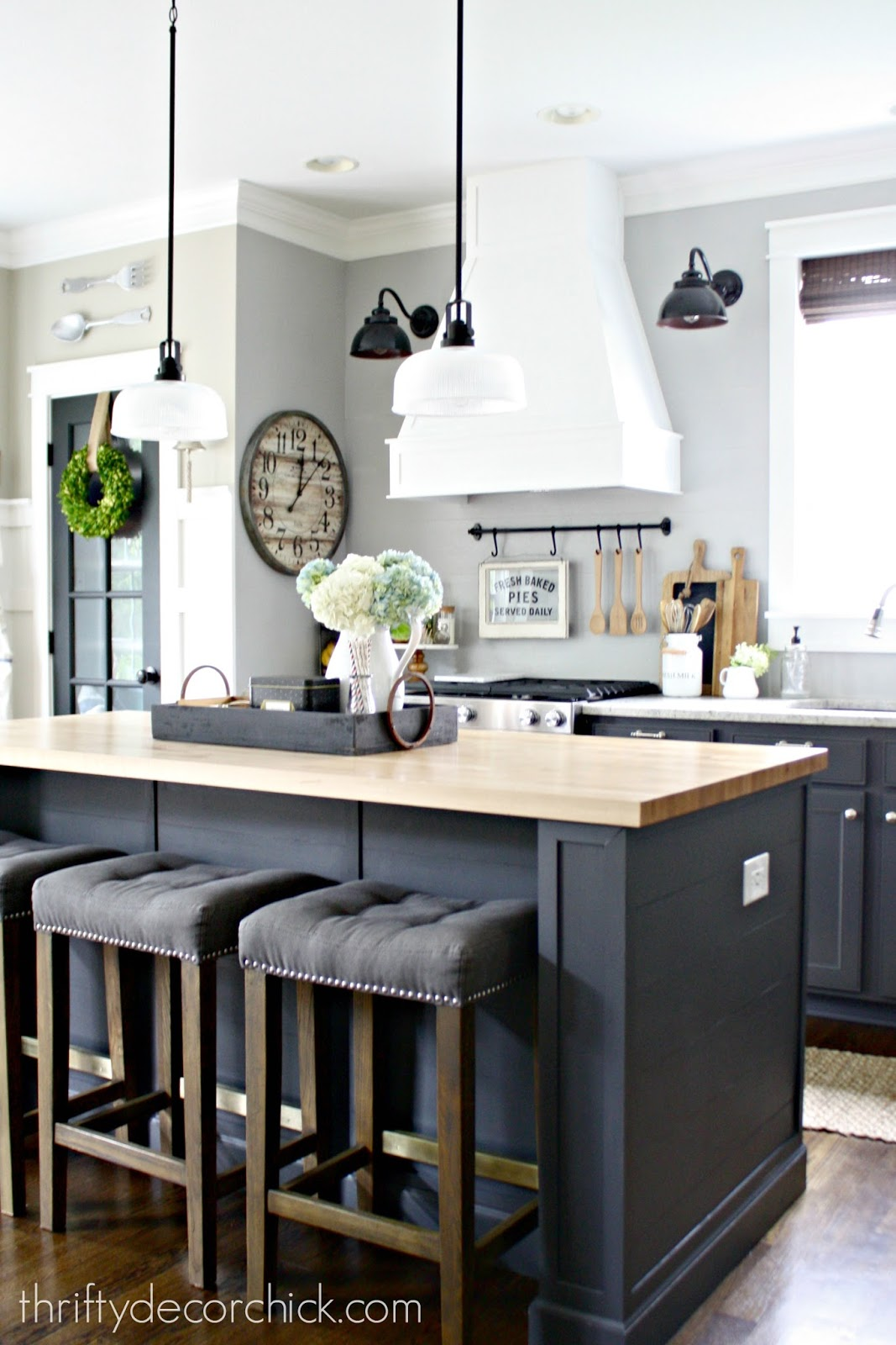 Marvelous dark gray island in kitchen