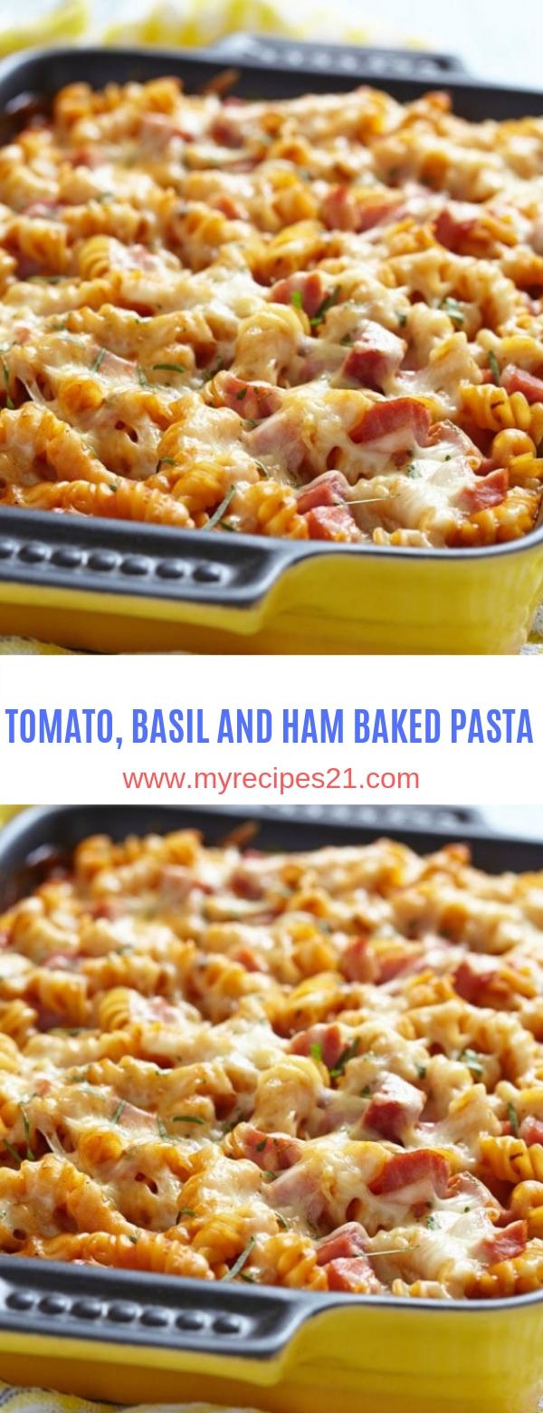 TOMATO, BASIL AND HAM BAKED PASTA