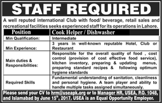 Cook/Helper Jobs In International Club Lahore  21 May 2017