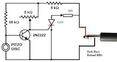 Mạch điện cho chân kick bass trống Roland HD1