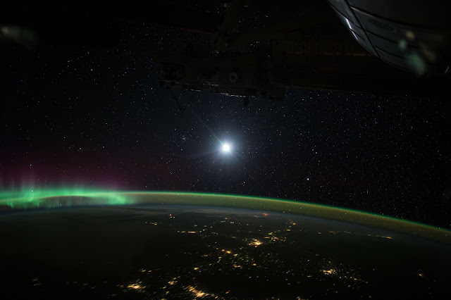 Moon and Aurora seen from the International Space Station