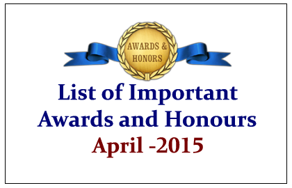 List of Important Awards and Honors