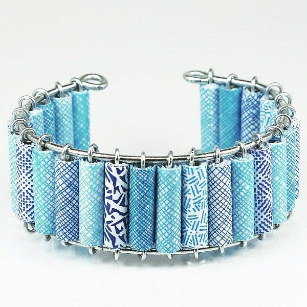 blue security envelope paper bead bracelet