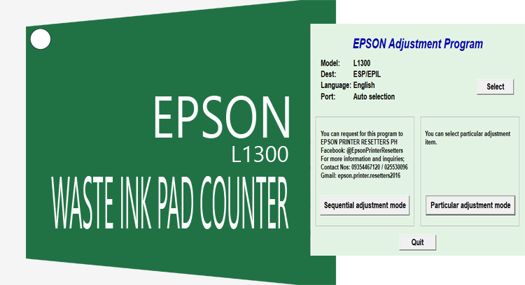 Reset Epson L1300 Wasted Ink Pad Counter