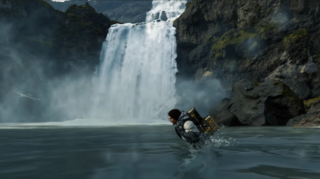 Death Stranding walking simulator Norman Reedus lake waterfall