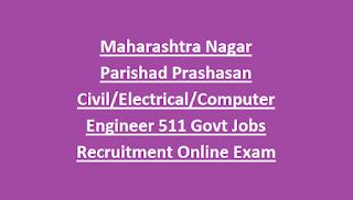 Maharashtra Nagar Parishad Prashasan Civil Electrical Computer Engineer 511 Govt Jobs Recruitment Online Exam Pattern and Syllabus