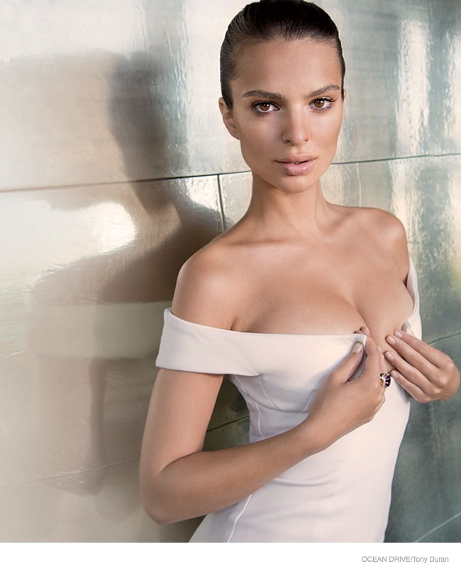 Emily Ratajkowski shows off curves for Ocean Drive magazine September 2014