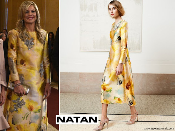 Queen Maxima wore Natan Embroidered Yellow Dress from Spring Summer 2018 Natan Couture