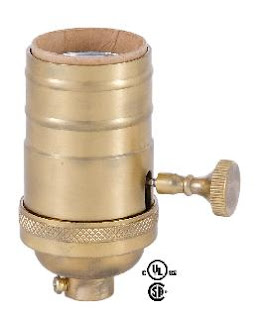 48243SB - 3-Way, Turned Brass Lamp Socket (E26)