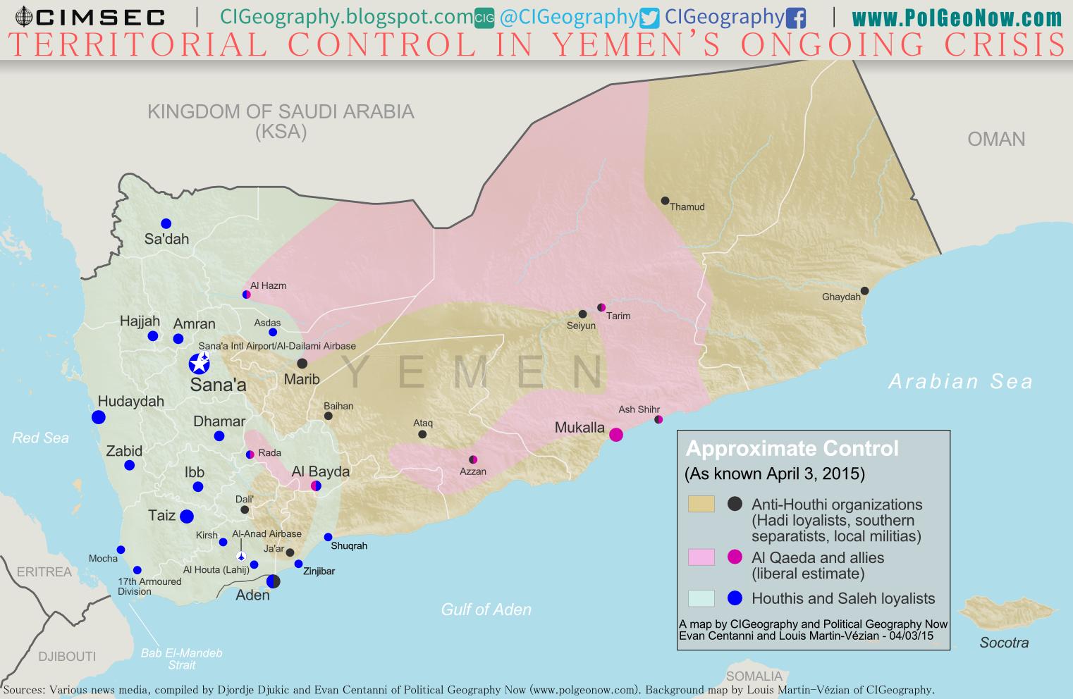 Political Map Of Yemen.War In Yemen Map Of Territorial Control April 2015 Political