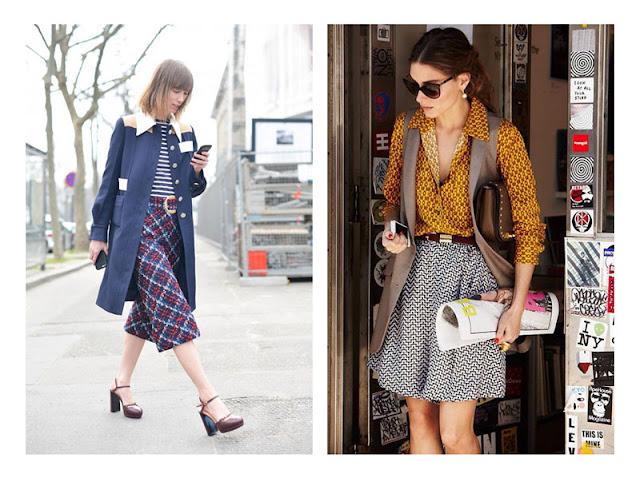 Сочетание разных принтов и однотонной одежды в комплекте