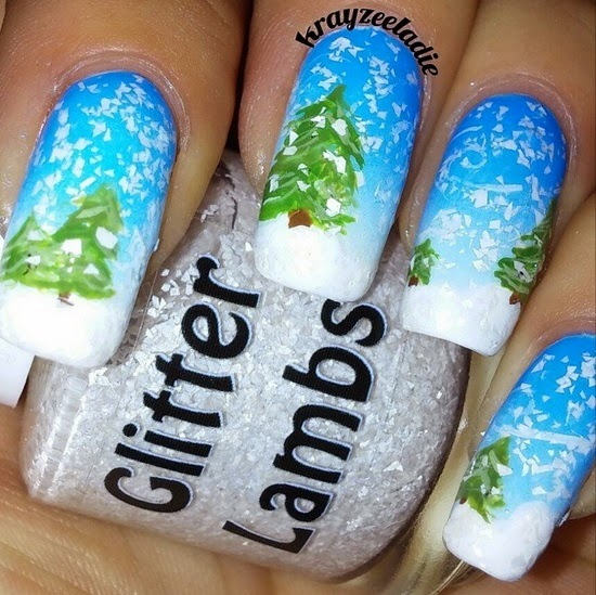Christmas custom handmade indie lacquer. Christmas nails. Christmas snow nails with trees background on nails.