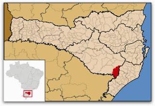 Cidade de Bom Jardim da Serra, no mapa de Santa Catarina