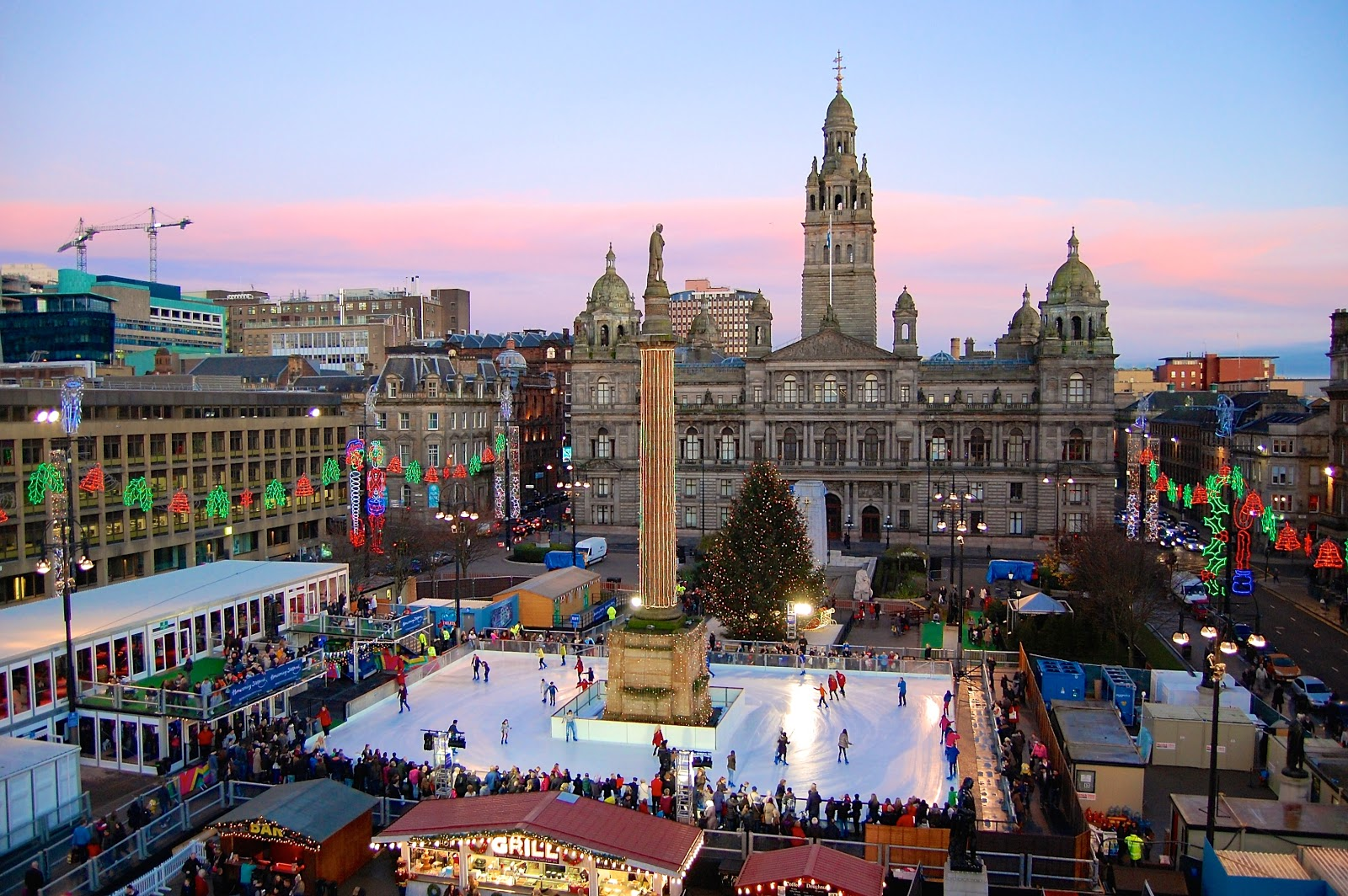 Winter festivities in St. George's Square in Glasgow, Scotland