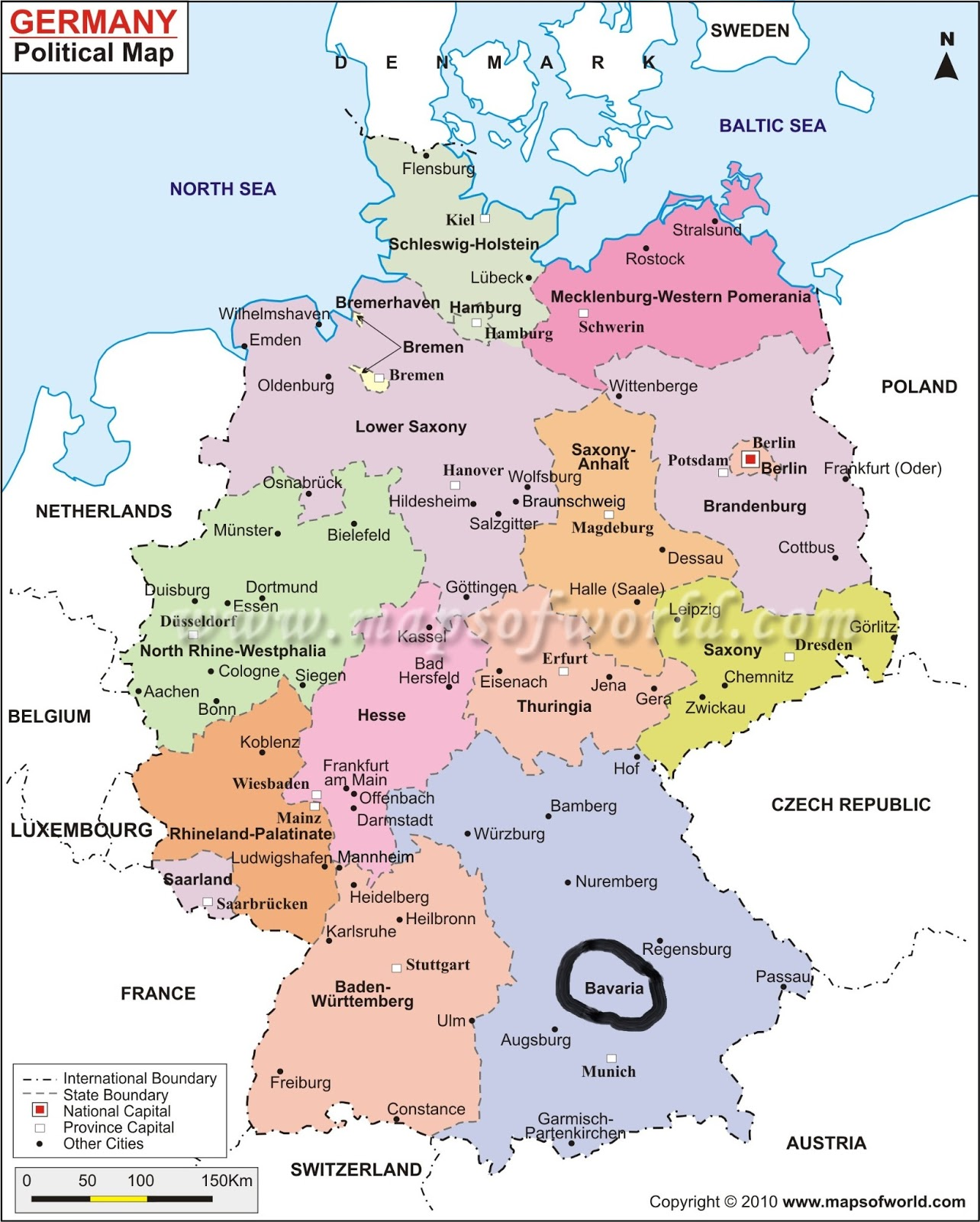 detailed administrative map of germany germany large