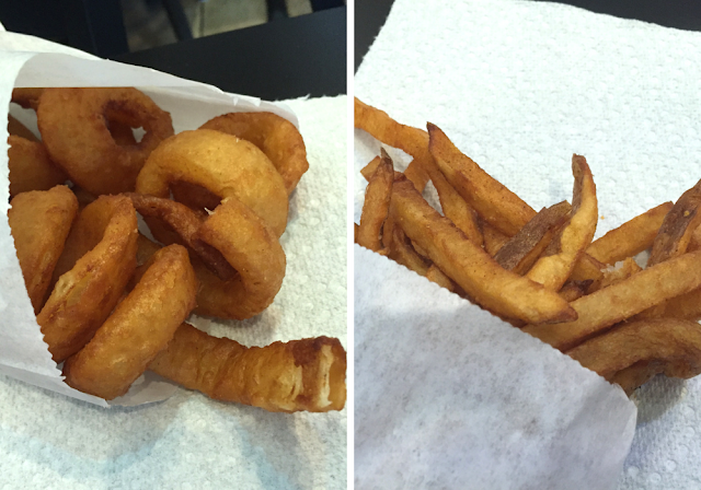 Fries and onion rings at Rock N Grill in Lake in the Hills