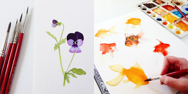 Skillshare, watercolor painting, viola flowers, watercolor goldfish, Skillshare, Anne Butera, My Giant Strawberry