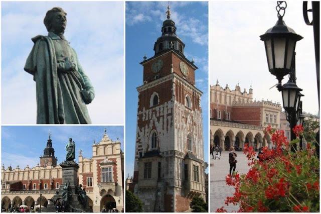 Monumento a Adam Mickiewicz – Lonja de los Paños – Torre del antiguo Ayuntamiento en la Plaza Mayor o del Mercado de Cracovia
