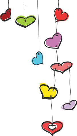 Colorful Hearts on strings