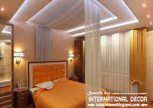 Stunning Plaster Ceiling With Led Lights For Luxury Bedroom