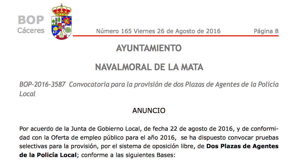 Polic a local extremadura convocatoria de 2 plazas de for Convocatoria para las plazas docentes 2016