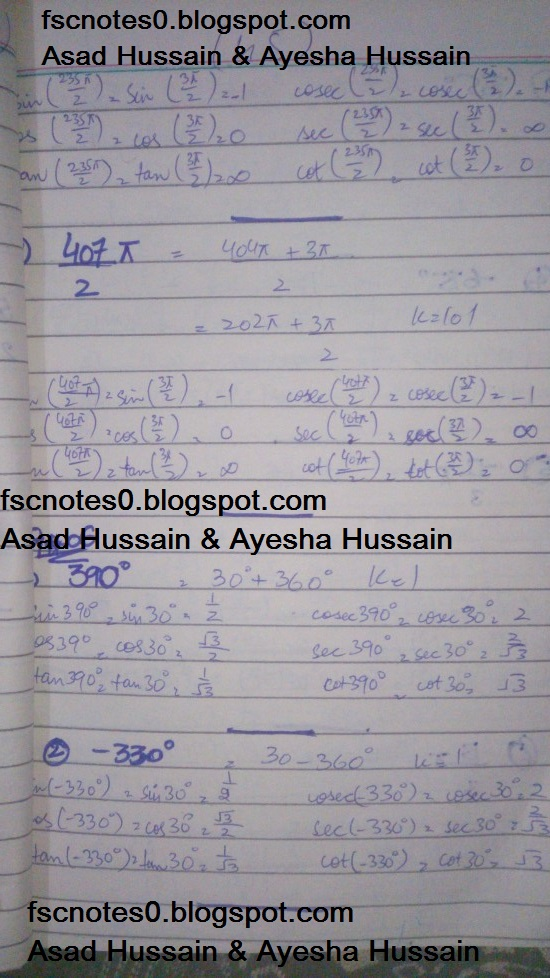 FSc ICS FA Notes Math Part 1 Chapter 9 Fundamentals of Trigonometry Exercise 9.3 Question 4 - 5 by Asad Hussain & Ayesha Hussain 3