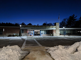 Parmenter School at night (before this storm hit)